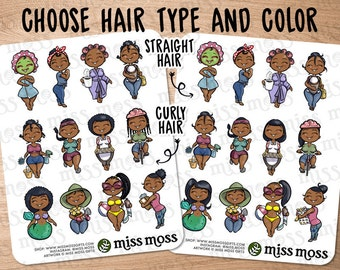African American Brown Black Afro Braids Cute Girl Assorted Planner Stickers - Erin Condren, Happy Planner, Kikki K, Filofax, Decorative