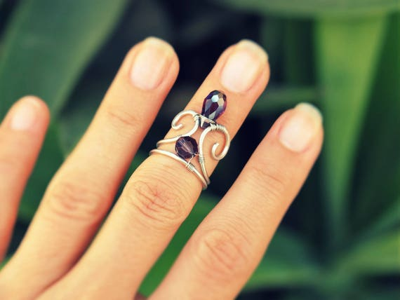 Midi wire wrapped ring Knuckle Purple Adjustable Medieval Gift for her Boho Renaissance Handmade jewelry Modern simple Cute