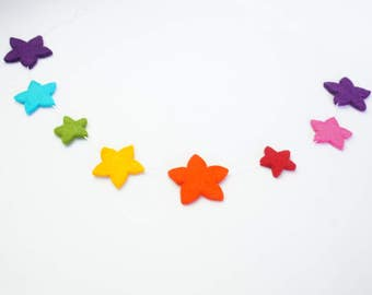 Garland, Felt Garland, Felt Star Garland, Christmas Garland, Wool Garland, Star Garland, Kids Room Garland, Birthday Garland, Galaxy Garland