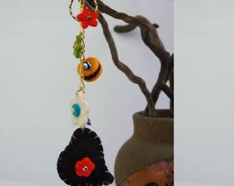 SALE Bag Charm, Tassel Bag Charm, Tassel Key Chain, Flower Bag Charm, Beach Bag Charm, Evil Eye Bag Charm Accessories, Felt Bag Charm