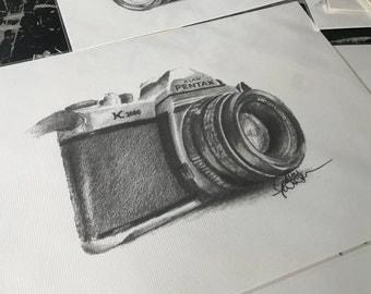 Pentax Camera Pencil Drawing