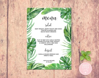 Pretty Palm Collection Wedding Menu, Palm Shower Menu, Dinner Menu, Event Menu printable or printed - Lovely Little Party - You Choose Color