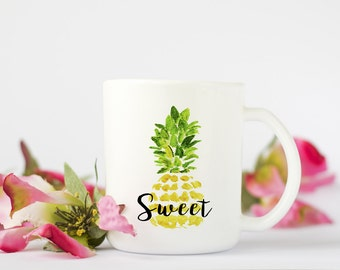 "Pineapple ""Sweet"" Mug, Sweet Coffee Mug,  Pineapple Coffee Mug, Birthday Gift, Coffee Cup, Pineapple Art, Bridesmaid Gift"