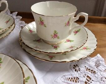 Pretty Royal Standard vintage bone  china rosebud tea cup trio