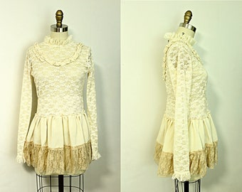 Upcycled Lace Tunic Top Ruffle Romantic Cream Off White Recycled Women's Spring Clothing Size XS Extra Small