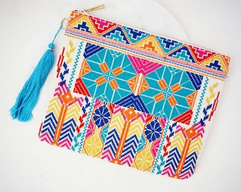 Brightly Colored Tribal Embroidered Clutch Purse