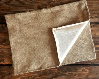 Set of 2-Burlap Placemats With Natural Cotton Fabric Lining- Double Sided/Reversible-Minimalist-Rustic-Country-Farmhouse-Cabin-Chic