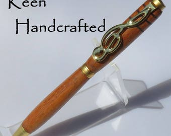 dv - Keen Handcrafted Mahogany Satin Gold Slimline Music Pen