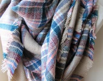 Tartan scarf, plaid blanket shawl scarf,blanket scarf trend, blue white gray beige pink plaid scarf man woman fashion 2017 scarves2012