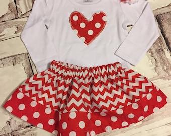 Valentine's Day Heart Outfit, Girl Valentine's Day Outfit, Tween Valentines Outfit, Headband Red, Heart Shirt, Red/White Chevron skirt