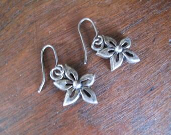 Sterling Flower Earrings, 925 Silver Stamped, Hook Earrings
