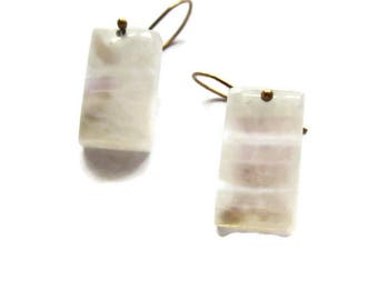 Rectangular Moonstone Earrings, Rainbow Moonstone Drop Earrings, White Gemstone Earrings, ARTISAN HANDMADE by Sheri Beryl