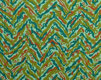 Vintage Cotton Fabric, Chevron Fabric, Zigzag Fabric, Abstract Fabric, Vintage Fabric Remnant, Sewing Fabric - 1 Yard - CFL2213