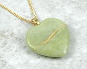 Broken heart pendant in light green serpentine stone with gold kintsugi (kintsukuroi) repair on gold plated curb chain - OOAK