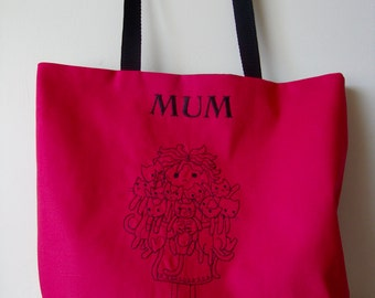 Fuchsia Pink shoulder bag, Mum Crazy Cat Lady. Mothers day gift