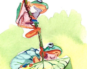 Little fellas, Frogs Art print, Image 2.5 x 3.5, Gift for animal lovers, Limited edition 1/25