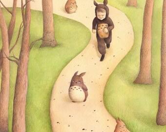 Totoro Run, art print