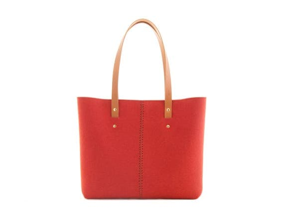 Wool Felt TOTE BAG / orange tote bag / womens bag / felt shoulder bag / carry all bag / made in Italy