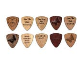 Set of 10 Wood Guitar Picks - 2017 Special! -Flat Laser Cut Guitar Picks - Personalized custom engraving available!