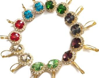 Swarovski Round lever back earrings - 18k gold plated lever earrings real swarovski rhinestones
