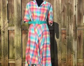 Plaid Shirt Dress With Belt Made in USA Vintage Cotton Dress Pink and Blue Tartan
