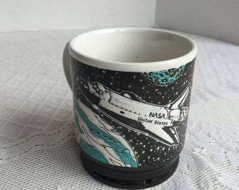 NASA  Coffee Cup for Kennedy Space Center in Florida / Vintage Ceramic Space Shuttle Coffee Mug