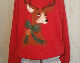 Vintage Ugly Christmas Sweater, Holiday Sweatshirt, Winter, Holiday Party, Red, Jerzees