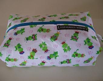 Large knitting box bag- Royal Frogs