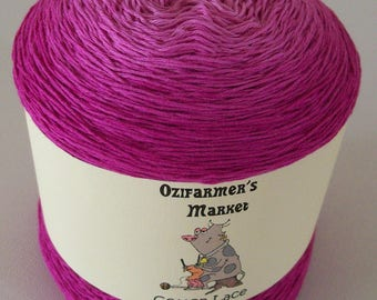 Cotton Lace.  Gradient hand-dyed hot pink laceweight cotton. 100gm. Raspberry