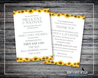 "Printable Wedding Program - Rustic Sunflower Printable Order of Service Card - 5"" x 7"" Program - Fun Summer Wedding Program - Custom Colors"
