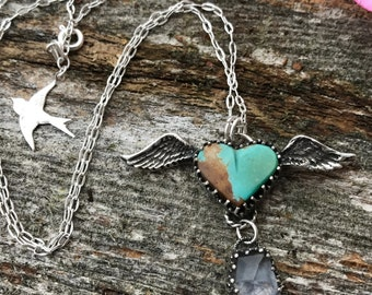 Winged Heart Necklace - Kingman Turquoise and Crystal Quartz