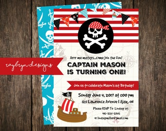 Cute Pirate Party Invitation   Arrr...Me Matey! Come Join the Fun!   First Birthday  Red and Blue with Pirate Details   Printable file.