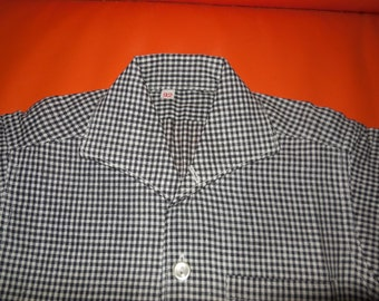 DEADSTOCK Vintage 1950s Boys Childs Shirt Black White Checker Print Baby SS Rockabilly NWOT Unworn