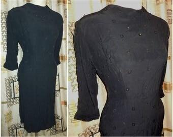 Vintage 1930s Dress Black Crepe Small Metal Studs Art Deco Film Noir Little Black Dress Back Button 30er Kleid L XL chest to 43 in