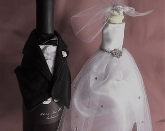 Bride and Groom Bottle Covers, Pair. Handmade in Fabric.