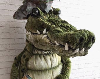Tic Toc Crocodile Faux Taxidermy |peterpan|neverland|crocodile |pirate|alarm clock | feathers | wall art | childrens decor | nursery art