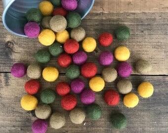 Autumn Felt Ball Set, Fall Wool Felt Balls, Rustic Felt Balls