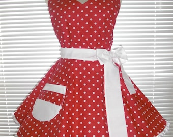 Sweetheart Retro Diner Apron White Dots On Red White Accents Circular Flirty Skirt Trimmed with Ruffled Ribbon
