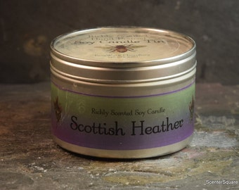 Soy Candle Tin - 8 oz in Scottish Heather Scent