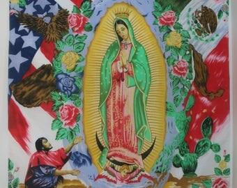 Colorful Madonna Handkerchief Cotton Fabric 22x22 Cactus Religious Colorful Graphics Hankie