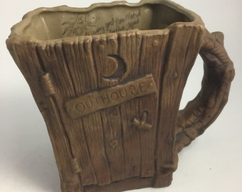 Jim Rumph Outhouse Stein with Grafitti Inside