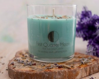 First Quarter Moon Soy Wax Candle - Moon Candle - Wicca Candle - Magic Candle - Lunar Candle