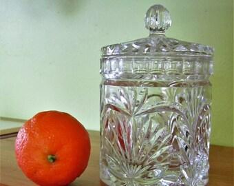 Vintage Glass Jar with Lid Cut Glass Jewelry Holder Pot Pourri Bath Spa Salts Canister Bridal Gift Multi Cut Glass Jar  Lid Candle Holder