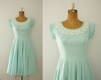 1950s dress | vintage 50s aqua cotton dress