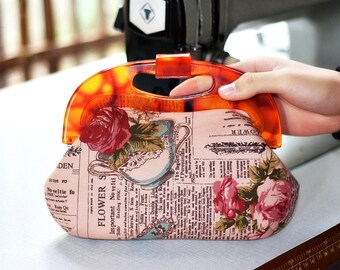 Resin frame clutch, Handle clutch purse, handbag