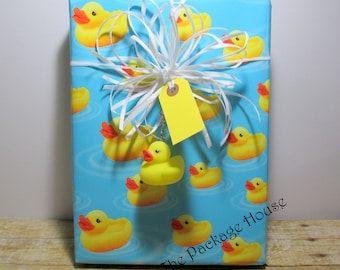 Duck Gift Wrap, Rubber Duck Gift Wrap, Duck wrapping paper, paper table runner, 10' long , includes one duck keychain and 4 yellow gift tags