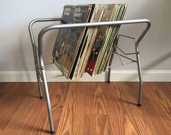 Vintage Metal LP Record Album Rack