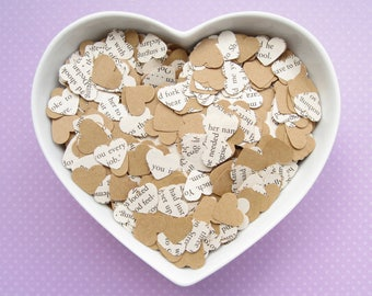 Beauty and The Beast Heart Kraft Book Confetti Mix - Choose from 200 to 1600 Hearts - Wedding Birthday Party Table Decor