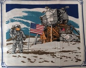 Vintage Fabric 9 Space Shuttle Astronaut Vintage Fabric Panels Moon Landing Princess Fabrics Inc Pattern 357