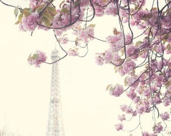 Paris photography, canvas art, paris wall art, large wall art, Paris canvas, Paris print, canvas wall art, Eiffel Tower print cherry blossom